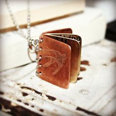Metal Book Pendant  Book Necklace  You Were by hardweardesigns, $40.00