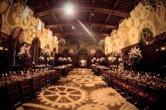 Perfect steampunk wedding reception :) (like the table set up for a combo ceremony & reception)