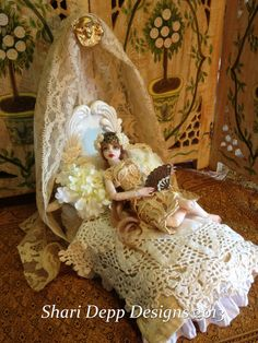 One of a Kind Antique Laces Doll Bed with by ShariDeppDesigns, $99.00