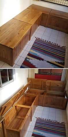 Pallet storage Bench - Upcycled Unique Pallet Storage Box Ideas... #Palletstorage #Bench
