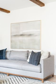 Riverbottoms Remodel: Living Room Reveal Statement art above the sofa, casual eclectic living room inspiration Eclectic Living Room, Small Living Rooms, Living Room Art, Living Room Modern, Living Room Interior, Home And Living, Living Room Furniture, Living Room Designs, Simple Living