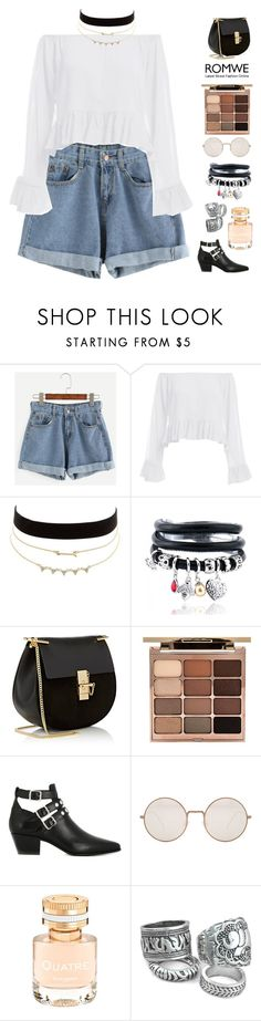 """Blue Cuffed Denim Shorts by ROMWE #3"" by patricia-pfa ❤ liked on Polyvore featuring Charlotte Russe, Chloé, Stila, Yves Saint Laurent, Illesteva, Boucheron, romwe and emmastaggies"