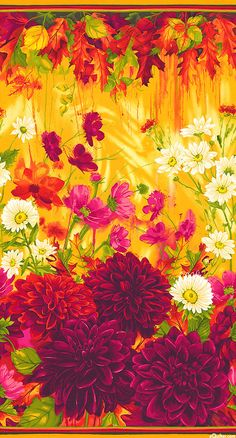 "Dahlia - Early Autumn Garden - 24"" x 44"" PANEL - Quilt Fabrics from www.eQuilter.com"