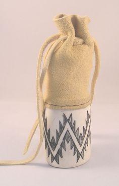 Small Elk Horn Medicine Pouch, by Hupa  artist George Blake. LBD