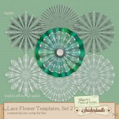 Irish Lace Flower Templates Set 2 | CU/Commercial Use #digital #scrapbook design tools at CUDigitals #digiscrap