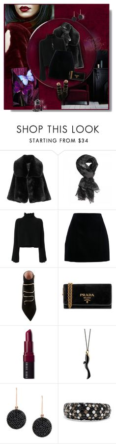 """Black"" by perla57 ❤ liked on Polyvore featuring Golden Goose, Prada, Bobbi Brown Cosmetics, Monica Rich Kosann, Astley Clarke and Effy Jewelry"