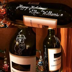 """Holiday SPECIAL 🎄Words """"From"""" & """"The"""" are FREE!  Engraving with bear on this bottle is $18. 💛Contact us for a quote ⛄️perfect gift for the Holidays 🎁we can also ship out your bottle. 🍾#vino #sandiego #wine #sandiegowine #yourtreasurecorner #winesandiego #holidaygifts #holidaygiftideas #vinostagram #sandiegoshopping #winelover #lovewine #corporategifts #businesswoman"""