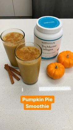 Packed with immune- boosting ingredients, this smoothie is rich in nutrients and tastes just like Pumpkin Pie. Pumpkin Pie Smoothie, Pumpkin Spice Latte, Collagen, Spices, Fruit, Cooking, Recipes, Food, Kitchen