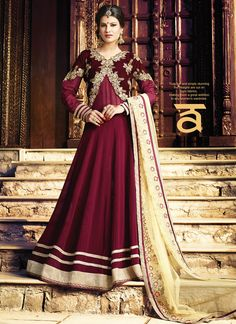 Micro Velvet & Georgette Maroon Anarkali Salwar Suit  Email - support@ethnicoutfits.com Call - +918140714515 What's app/ Viber - +918141377746