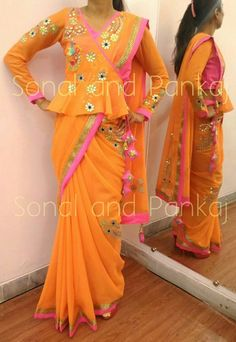 Blouse with saree tucked thru Saree Jacket Designs, Saree Blouse Neck Designs, Fancy Blouse Designs, Look Short, Designer Blouse Patterns, Dress Patterns, Stylish Blouse Design, Saree Styles, Indian Designer Wear