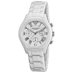 NEW Emporio Armani Luxury Watch Women AR1404 White ceramic chronograph #EmporioArmani #Casual