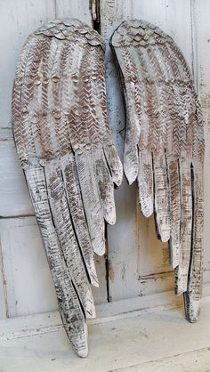 Large gray white wings wooden wall sculpture distressed hand carved metal home decor Anita Spero