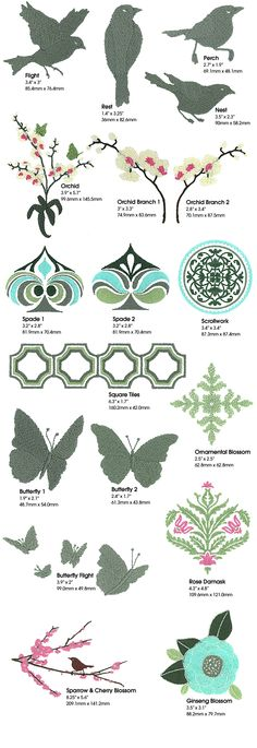 Joel Dewberry Modern Motifs embroidery designs... love the Scrollwork, Ornamental Blossom, and Rose Damask