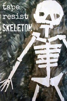 Tape Resist Skeleton Paintings – Halloween Art Ideas for Kids Halloween Activities For Kids, Art Activities For Kids, Halloween Crafts For Kids, Halloween Kids, Kids Crafts, Halloween Countdown, Halloween Painting, Teaching Activities, Therapy Activities