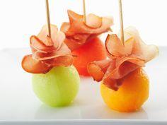 meloenballetjes met rauwe ham...