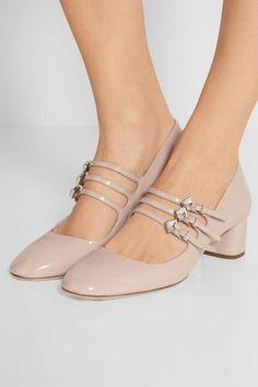 Miu Miu | Crystal-embellished patent-leather Mary Jane pumps | NET-A-PORTER.COM