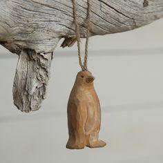Carved Wood Penguin Ornament