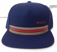 New 27 RVCA SNAPBACK HAT Navy-Blue Tan Red Flat-Bill Wool Blend Men Women Teen   RVCA  BaseballCap 042d3bf453d5