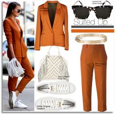 Suited Up Street Style... by nfabjoy on Polyvore featuring moda, Innamorato, Marni, adidas Originals, Rebecca Minkoff, Cartier, StreetStyle, Summer, fringe and suit