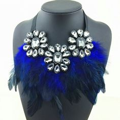 Crystal and Blue Feather Choker