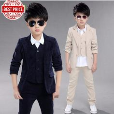 ab15d06d89 2017 New fashion Children s clothing boys jacket+vest+pants casual formal kids  3 pcs suit boys spring autumn sets solid color