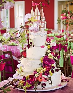 Brides Wedding Cake With Castle Topper The Couples Enchanting Four Tier By Ron Ben Israel Featured A Fuchsia Sugar Flower Spiral And Meaningful