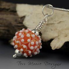 ORANGE CREAMSICLE--handmade orange with white raised dots lampwork bead pendant by Teri Moore SRA M2 by terimoorelampwork on Etsy