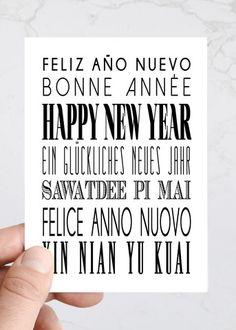 International Happy New Year Fun Typography holiday greeting cards. www.thesavvyheart.com