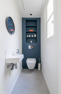 Love the blue colour! And the neatness of the built in cistern. And ...