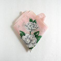 Vintage White Rose Print Handkerchief Pastel Pink by LastCentury