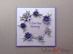 Handmade greeting card with 3D paper flowers by TipTopArtShop, $10.70