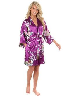 10 Colors Plus Size 3XL Womens Floral Sleepwear Satin Bridesmaid Nightgown Dress Japanese Kimono Robes D151