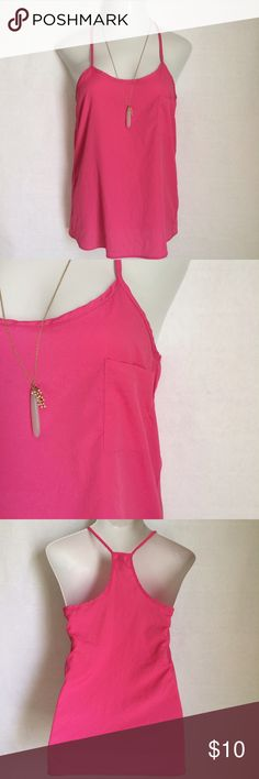 ✏️✂️🖍Everly racerback tank top Everly racerback tank top in fuchsia. Left breast pocket. Size is M. Not interested in trades. 12 Everly Tops Tank Tops