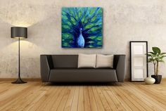 Modern Contemporary Peacock painting created with impasto to show off the texture of the beautiful peacock and his feathers. Vibrant blues and greens fill the surface of the canvas, and embrace the lonely peacocks soft blue bird. Animals have a way of letting their personality rule the canvas. Original abstract artworks by Emily Newman Art