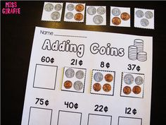 Adding coins worksheets and activities that turn making change into a fun hands on center Money Games For Kids, Money Activities, Teaching Activities, Teaching Resources, Teaching Money, Student Teaching, Kindergarten Math Worksheets, Money Worksheets, Kindergarten Rocks