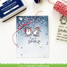 #lawnfawn #snowcool Awesome technique for creating the snow! I hadn't thought of using tone-on-tone with a darker color for snowflakes on top of blended ink