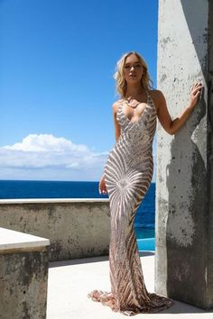 b451c019e8 Indie XO Champagne Dreams Gold Sequin Geometric Pattern Sleeveless  Spaghetti Strap V Neck Mermaid Maxi Dress