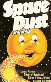 "1970s sweets - Space Dust - it fizzed on your tongue. General Foods ""Space Dust"" was the fizzing, popping candy that sent your tongue mad. You had to press it up onto the top of your mouth to get the full effect and it made your head feel like there was a firework display going on inside. #spacedust #sweets #confectionery #1970s"