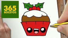 COMO DIBUJAR UN CUPCAKE PARA NAVIDAD PASO A PASO: Dibujos kawaii navideños - How to draw a cupcake