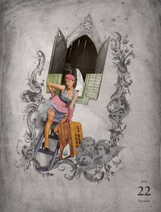22/07/2014 Puta confesión #collage #iglesia #church #confesionario #puta #satan #religion #priest #illustration #ilustracion by Gustavo Solana