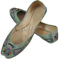 Ladies khussa- Parrot Green   786Shop.com