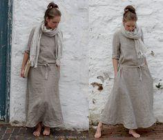 Natural Linen Trapeze Dress. Maxi by KnockKnockLinen on Etsy, £125.00