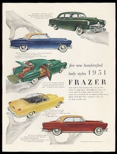1951 Ad - Kaiser Frazer Cars - five new handcrafted body styles 1951 Frazer - Art by Paul Rand