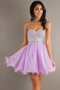 (My #1 favorite dress) Strapless cute short neon purple prom dress