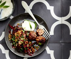 Toasted pinenut lamb kofta with grated beetroot freekeh salad.  Recipe and food styling - Gemma Lush, photo - Phu Tang.  Background tiles by Jatana Interiors.  Ceramic bowls - Mud Australia.