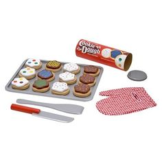 wooden slice and bake cookie set, melissa and doug cookie decorating playset, preschool play kitchen accessories, play kitchen cookies, preschool dramatic play No Bake Cookies, Cookies Et Biscuits, Cookies Store, Toys For Girls, Kids Toys, Wooden Play Food, Pretend Kitchen, Toy Kitchen Set, Kitchen Stove