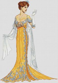 Fashion Hat 18~counted cross stitch pattern #1920~People Vintage Fashion Chart