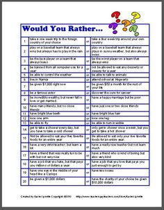 Would you rather: great idea for a get to know you activity