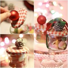 christmas gifts diy crafts jar sweets ball ornament pinecone