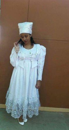 Damara girl, in a traditional Damara dress for her confirmation.